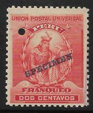 STAMPS-PERU. 1896. 2c Red. ABNCo Specimen. 15mm. SG: 338 var. Mint Hinged