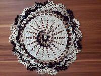 Handmade Vintage Crochet Design ACTUAL Crocheted black white  Doily NEW