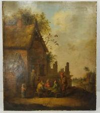 Antique 17th/18th Century Dutch Old Master Village Landscape Oil Painting Canvas