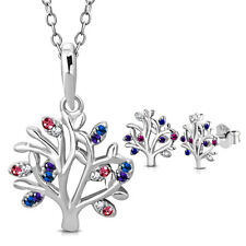 925 Sterling Silver Colorful Tree of Life Pendant Earrings Set