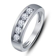 0.93 CT Mens 10K White Gold Finish 5 Stone Diamond Engagement Ring Wedding Band