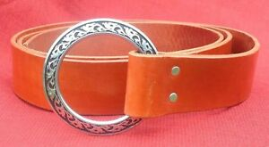 """2"""" Wide Chestnut Brown Medieval Ring Belt SCA Cosplay LARP Pirate Viking Faire"""