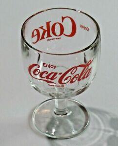 "Vintage Coca Cola Enjoy Coke Clear Glass Goblet 6"" Tall Thumbprint Heavy Glass"