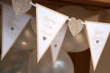 GOLD WEDDING BANNER PERSONALISED MR & MRS ANTIQUE GOLD QUALITY BUNTING 2M