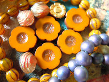 Grand Sandalwood Curry Opaque Picasso HAWAII FLEURS DE PERLES-Table Cuts 14mm- 10stk.