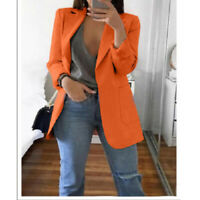 Women Coat Slim Casual Blazer Jacket Top Outwear Long Sleeve Career Formal Long