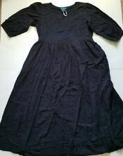 April Cornell Navy Blue Peasant Prairie Embroidered Tie Back Maxi Dress Medium