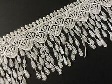 "Venise 3"" Wide Lace Trim Dangling Tassel Fringe Wedding Sewing Fabric  By 5 Yds"