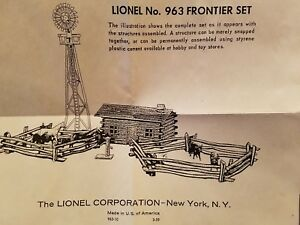 LIONEL 963 FRONTIER SET INSTRUCTIONS  DATED 3-59