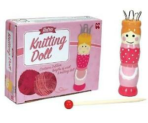 Retro Painted Wooden French Knitting Craft Doll & Yarn
