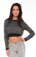 Vintage Havanna Gray & Black Long Sleeve Crop Top Sz M NWT MSRP $52