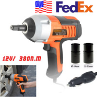"Handheld Electric Impact Wrench Set Accessories 380n.m 1/2"" 12V w/ Car Plug USA"