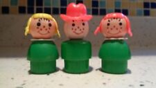 Fisher-Price Vintage Little People 2 Girls 1 Boy All Wood Green All Metal rivets