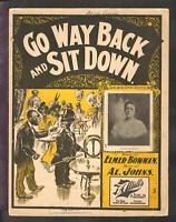 Go Way Back And Sit Down 1901 Effie Brooklyn BLACK AMERICANA VIntage Sheet Music