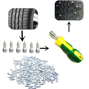 100X Off Road Tire Tread Stud Anti-Slip Wheel Ice Nails + Tool for Car Truck ATV