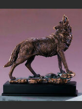 "LARGE Howling Wolf  12"" x 13""  Beautiful Bronze Statue / Sculpture Brand New"