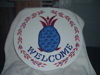 "ZOOK NOVELTIES PA Dutch  HEX SIGN, 16"" Pineapple Welcome (H-30), (Blue)"