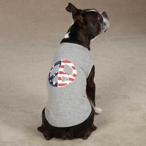 AMERICANA PEACE FLAG DOG PUPPY PATRIOTIC AMERICA SHIRT TANK STRIPES STARS SM/MED