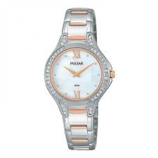 Pulsar Ladies Slim Dress Watch Chrome/Rose Swarovski Crystals PM2175 UK Seller