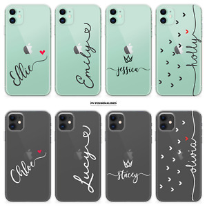 PERSONALISED PHONE CASE CLEAR NAME SILICONE COVER FOR IPHONE SE 11 7 8 X 7 PLUS