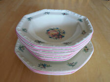 Avon China SWEET COUNTRY HARVEST 4 Rimmed Bowls Soup Cereal Octagonal Fruit