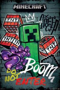 Minecraft Creeper Do Not Enter Graffiti Poster