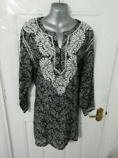 ❤ EAST LIFESTYLE 16-18 (L) Black Grey Paisley Cotton Embroidered Long Kaftan Top