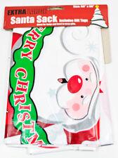 Holiday Extra LARGE Cute Santa Sack Decorative Plastic Gift Bag JUMBO - NEW