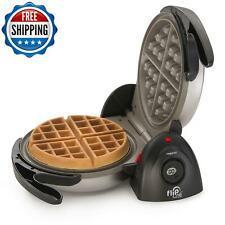 Round Waffle Maker Machine Non-Stick Ceramic Grip Rotary Timer Digital Display