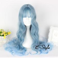 Lolita Women Mixed Gray Blue Curly Cosplay Heat Resistant 65CM Wig + Wig Cap