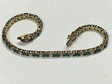Emeralds & CZ's in Yellow Gold Plate 925 Sterling Silver Bracelet