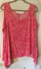 Woman Within Size L (18/20W) Pink Sleeveless Floral Asymetrical Hem Top/Blouse!