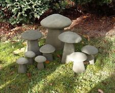STONE GARDEN SET OF 9 OLD STYLE TOADSTOOLS RUSTIC MUSHROOMS STADDLE ORNAMENTS