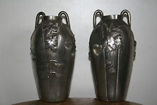 paire de vases en étain signé Ermenault art nouveau