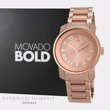 Authentic Movado Bold Women's Rose Gold Stainless Steel Watch 3600441