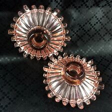 Art Deco Glass Candlesticks Pair Pink Starburst Sunburst
