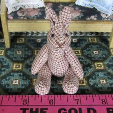 Dollhouse Artisan BUNNY STUFFED ANIMAL Vtg Miniature Nursery Toy Handmade Rabbit