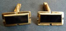 Paire de boutons de manchette en plaqué or + verre noir cufflinks