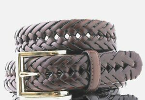 $120 Club Room Mens Brown Braided Faux Leather Gold Buckle Dress Belt US Size 44