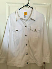 Women's Ruby Rd Road White Twill Jean Jacket Stud button Up 24W Soft