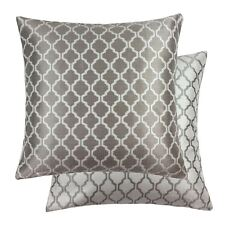 "JACQUARD MOROCCAN-STYLE PATTERNED LATTE WHITE 22"" - 55CM CUSHION COVER"