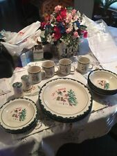 Let It Snow Atico Snowmen Holiday Christmas Dishes Service For 4 Plus S&P