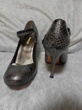 Women Maxstudio Silver Genuine Snakeskin Mary Jane Heels Shoe 7.5M