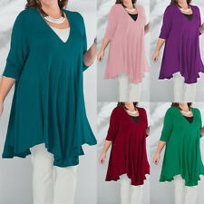 Women Long Sleeve V Neck Casual T-shirt Pleated Tops Blouse Mini Dress Plus Size