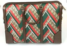 New Gucci 406384 GG Supreme Canvas Briefcase with Green and Red Chevron Print