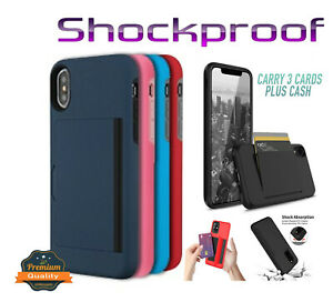 For LG Stylo 6 Credit Card Wallet Cover Hybrid Rugged Armor Shockproof Hard Case