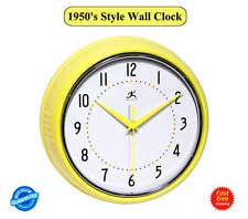 1950's Style Wall Clock Retro studio Metal Round Vintage Clock Pastel yellow NEW