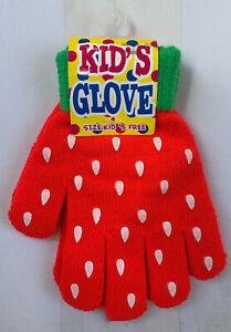 Cute Kids Winter Gloves Strawberry Girls Boys Fashion Kawaii Children
