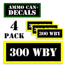 """300 WBY Ammo Can Labels Ammunition Case 3""""x1.15"""" stickers decals 4 pack BLYW"""