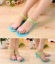Sandalias y chanclas de mujer planos azules, talla 37